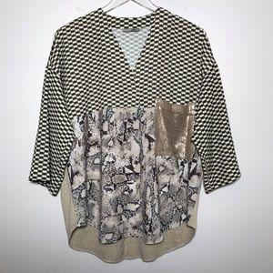 Zara Snake Geometric Contrast Print Sequin Blouse